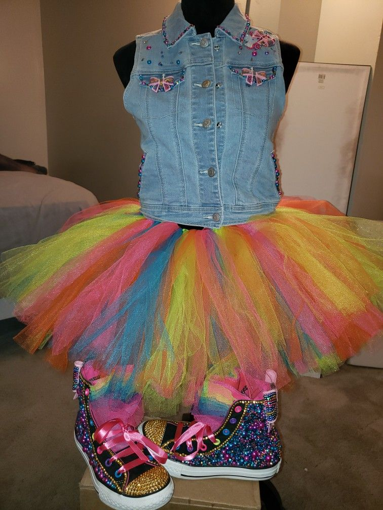 Jojo Siwa Kid Outfit with Blinged Out Converse