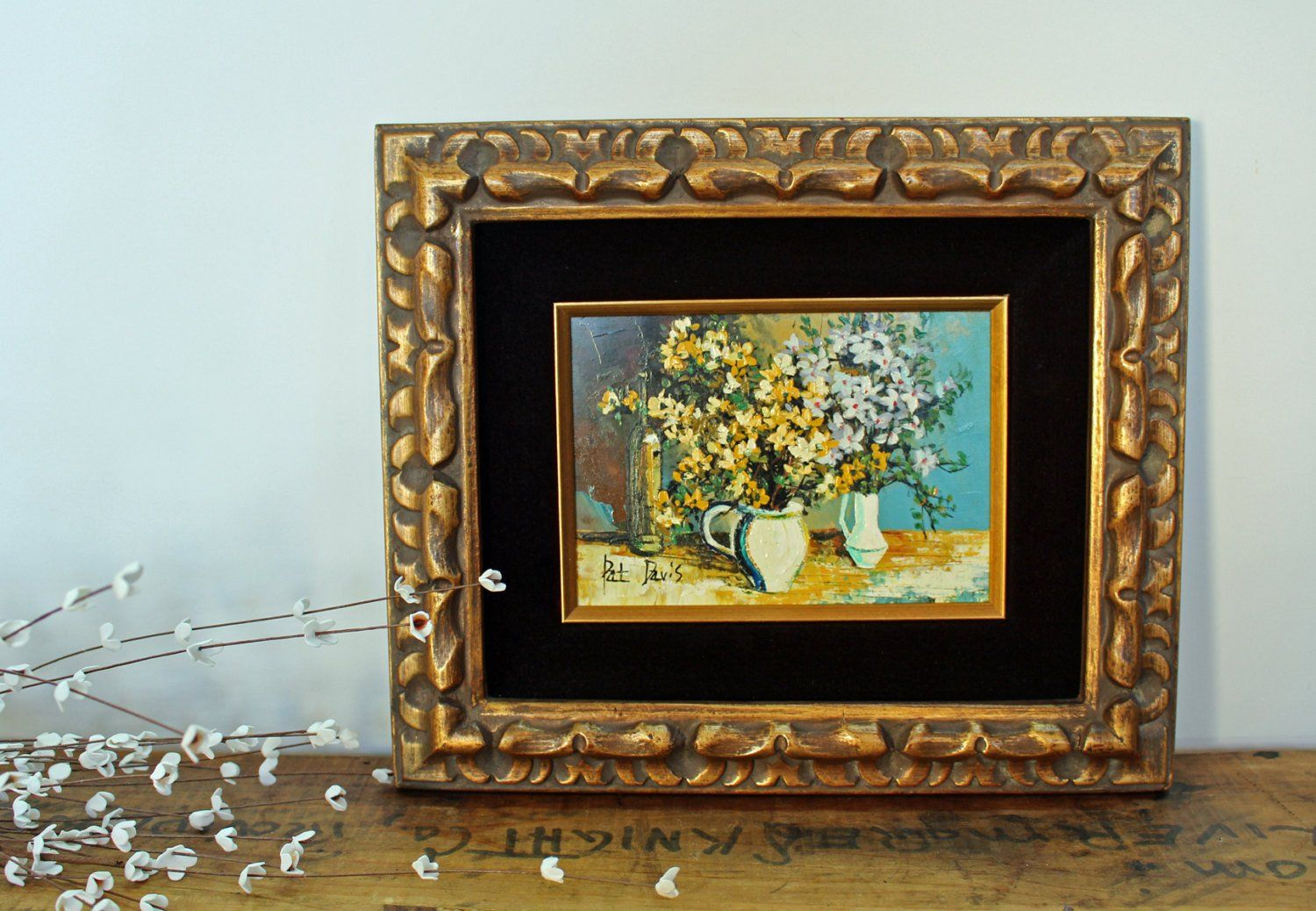 Vintage syroco floral still life painting by pat davis mid products jeuxipadfo Image collections