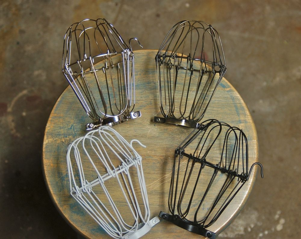 Wire Bulb Cage Clamp On Lamp Guard Vintage Industrial Trouble