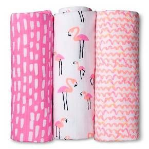 Swaddle Blankets Target Mesmerizing Oh Joy® 3Pk Muslin Swaddle Blanket  Flamingo  Target Trendy Inspiration Design