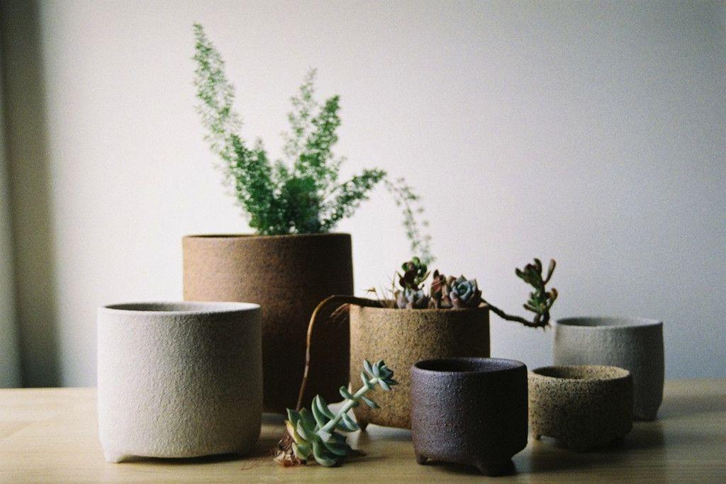 // Bridget Bodenham Raku Planter - mixed small , medium & large set