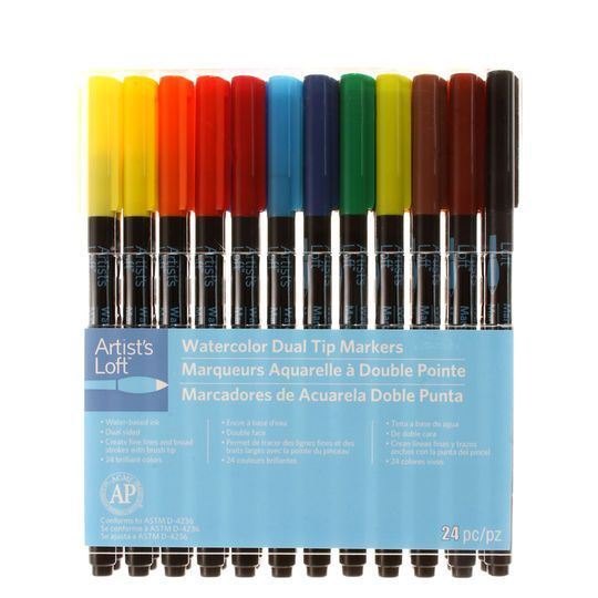Watercolor Dual Tip Markers By Artist S Loft 24 Ct Markers
