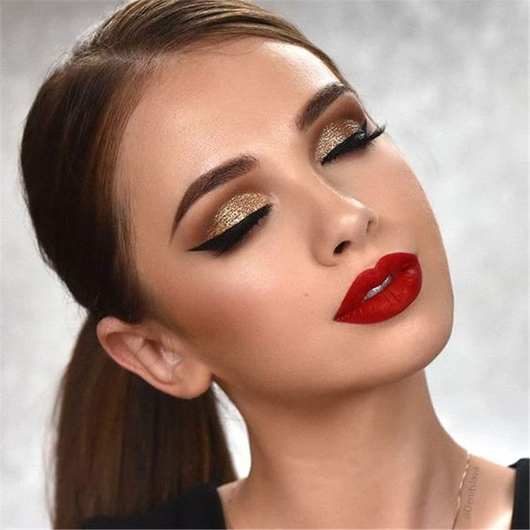 Trendy Makeup Looks With Red Lipstick For You Stunning Makeup