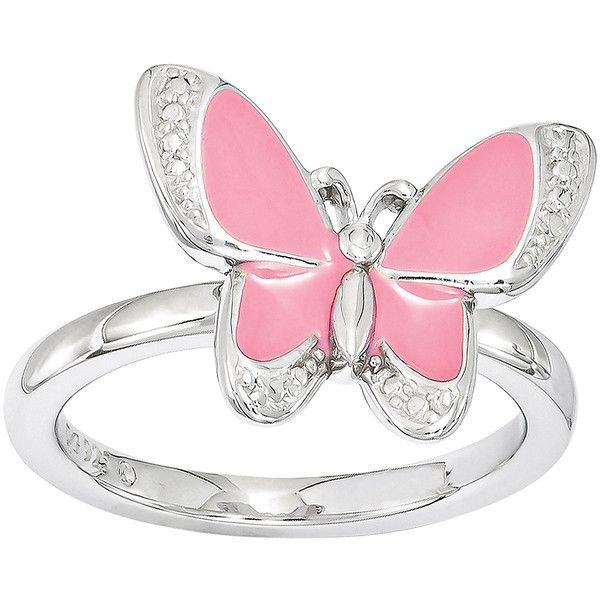 Personally Stackable Sterling Silver Butterfly Stackable Ring ($50) ❤ liked on Polyvore featuring jewelry, rings, accessories, pink, pink ring, stacking rings jewelry, sterling silver jewelry, stackable rings and sterling silver jewellery