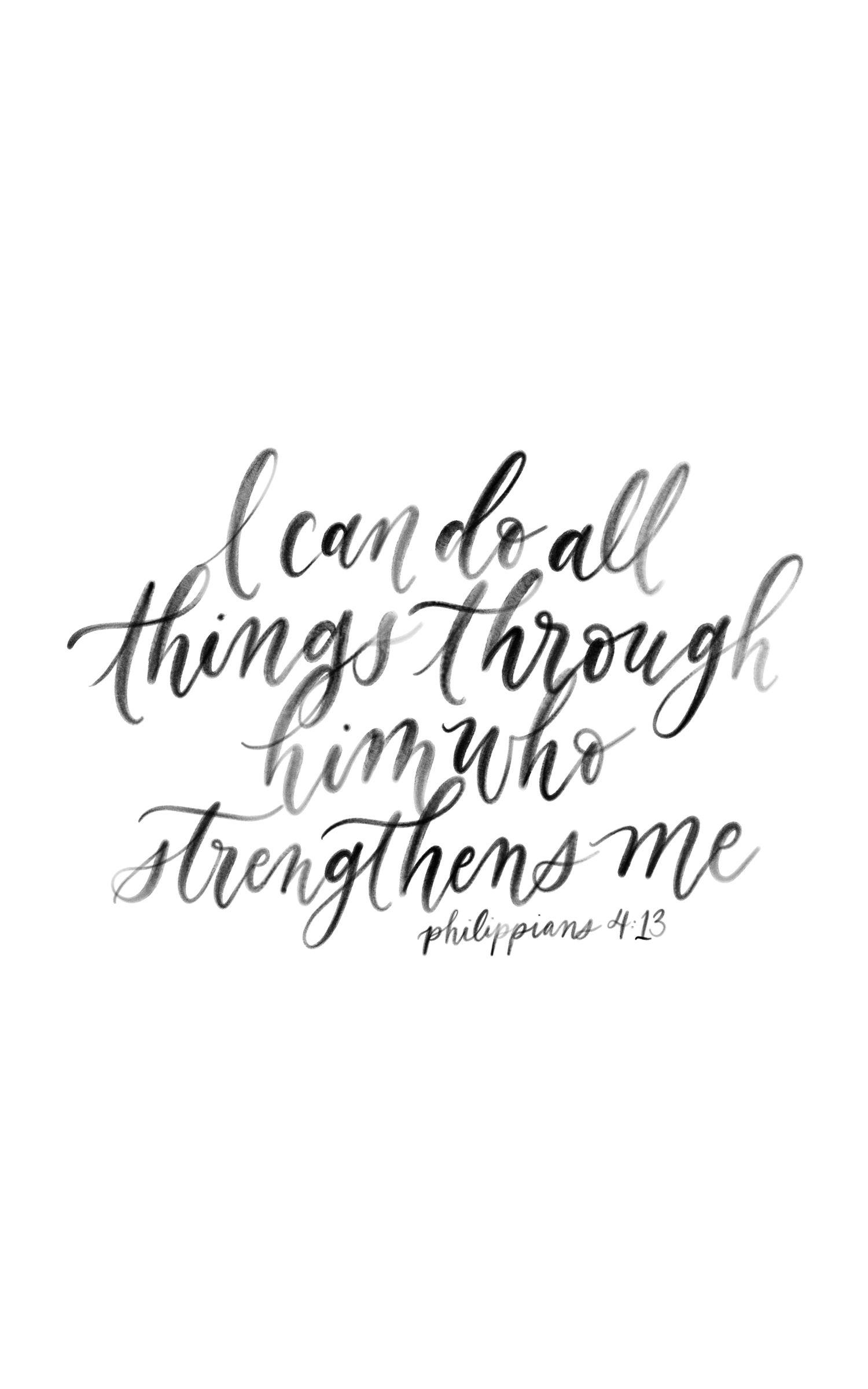 Philippians 4 13 Calligraphy Quote Handlettering Bible