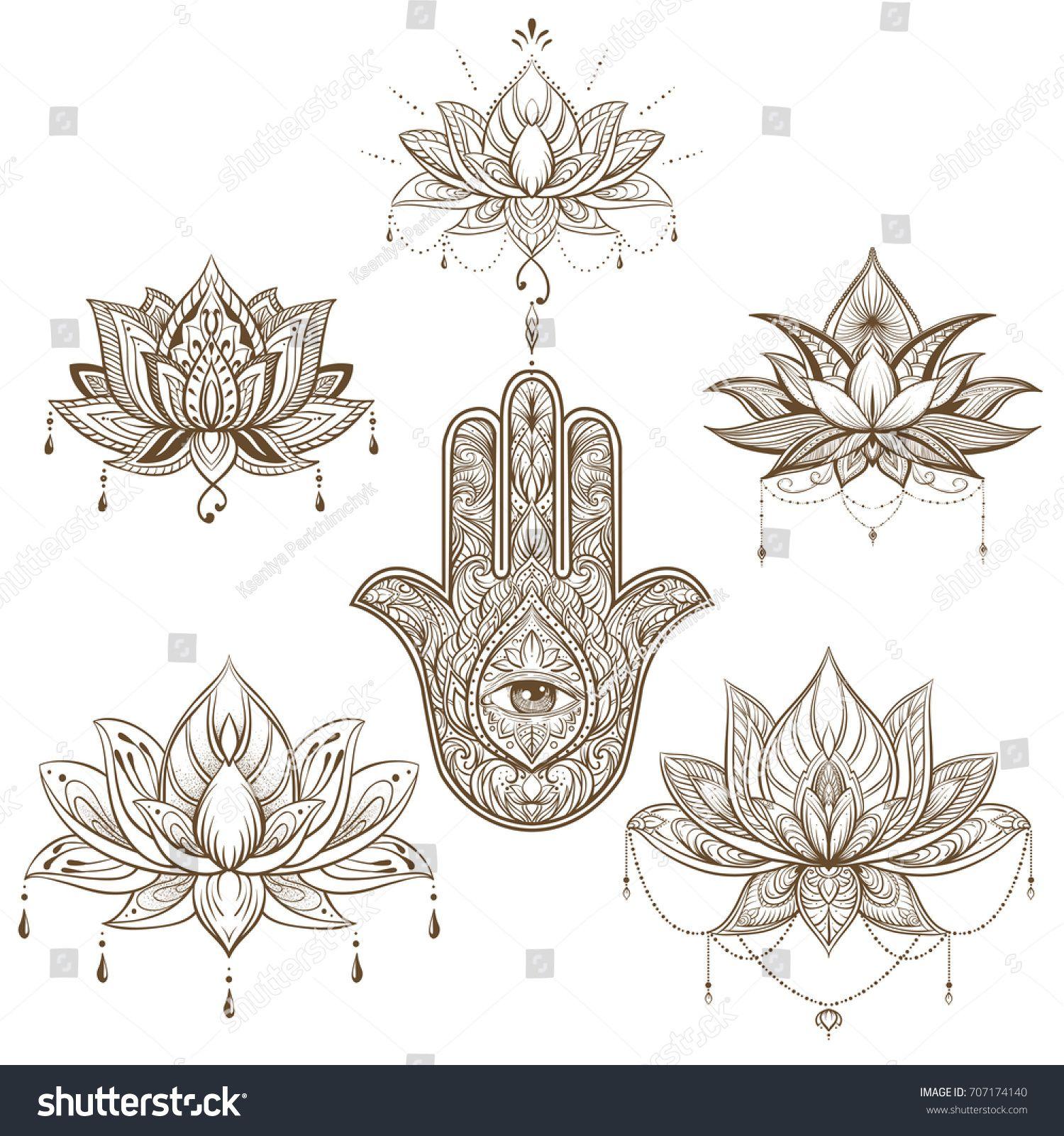 Lotus fllower und Hamsa Set. Vektorgrafik. Stock-Vektorgrafik (Lizenzfrei) 707174140