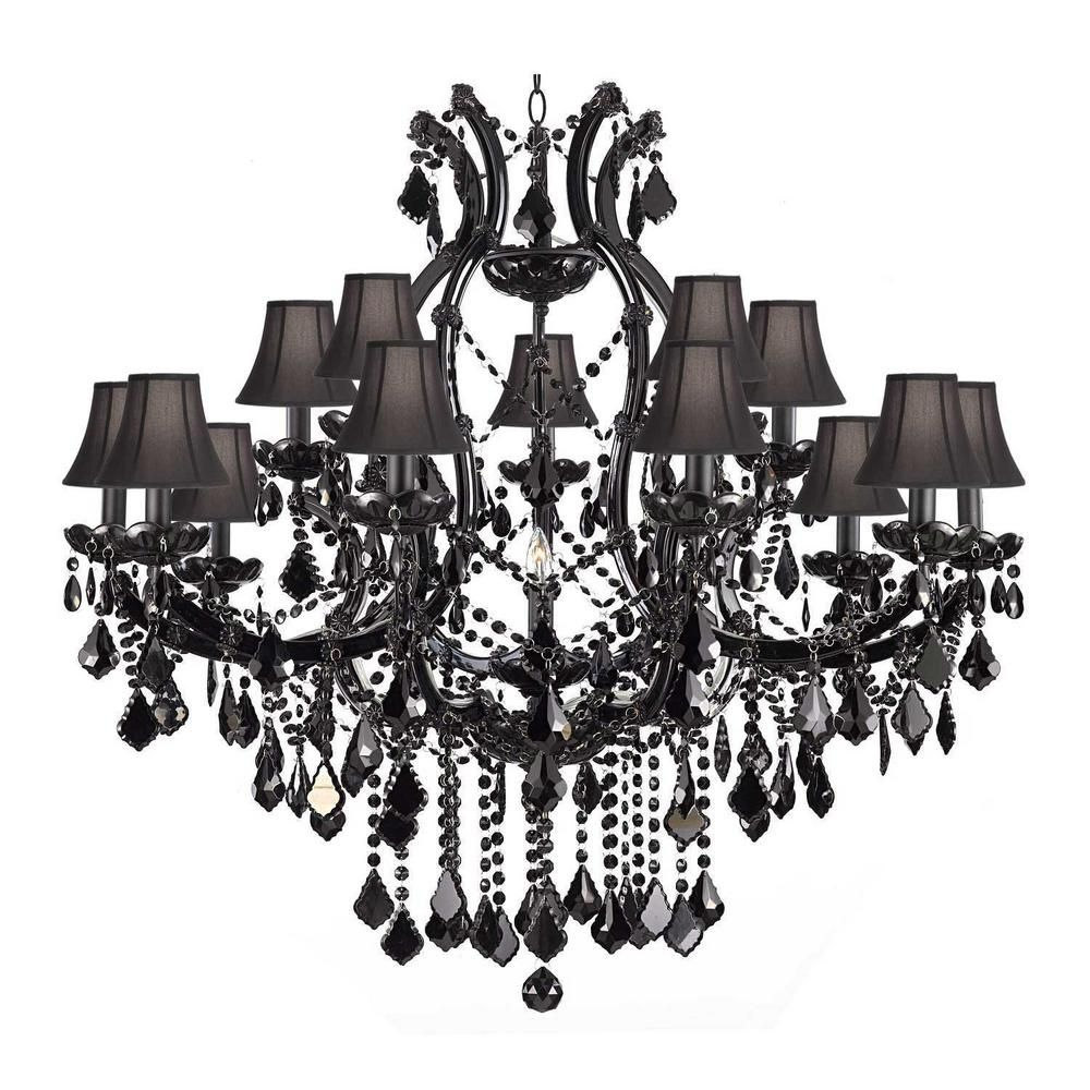 Harrison Lane Maria Theresa 16 Light Black Crystal Chandelier With Black Shades In 2020 Black Crystal Chandelier Crystal Chandelier Foyer Chandelier Shades
