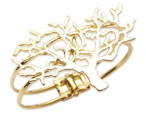 "Gold Metal Tree Hinge Cuff Bracelet Zad Jewelry. $14.00. Gold metal hinge cuff features 2½"" x 1½"" cutout tree. Closes with hinge."