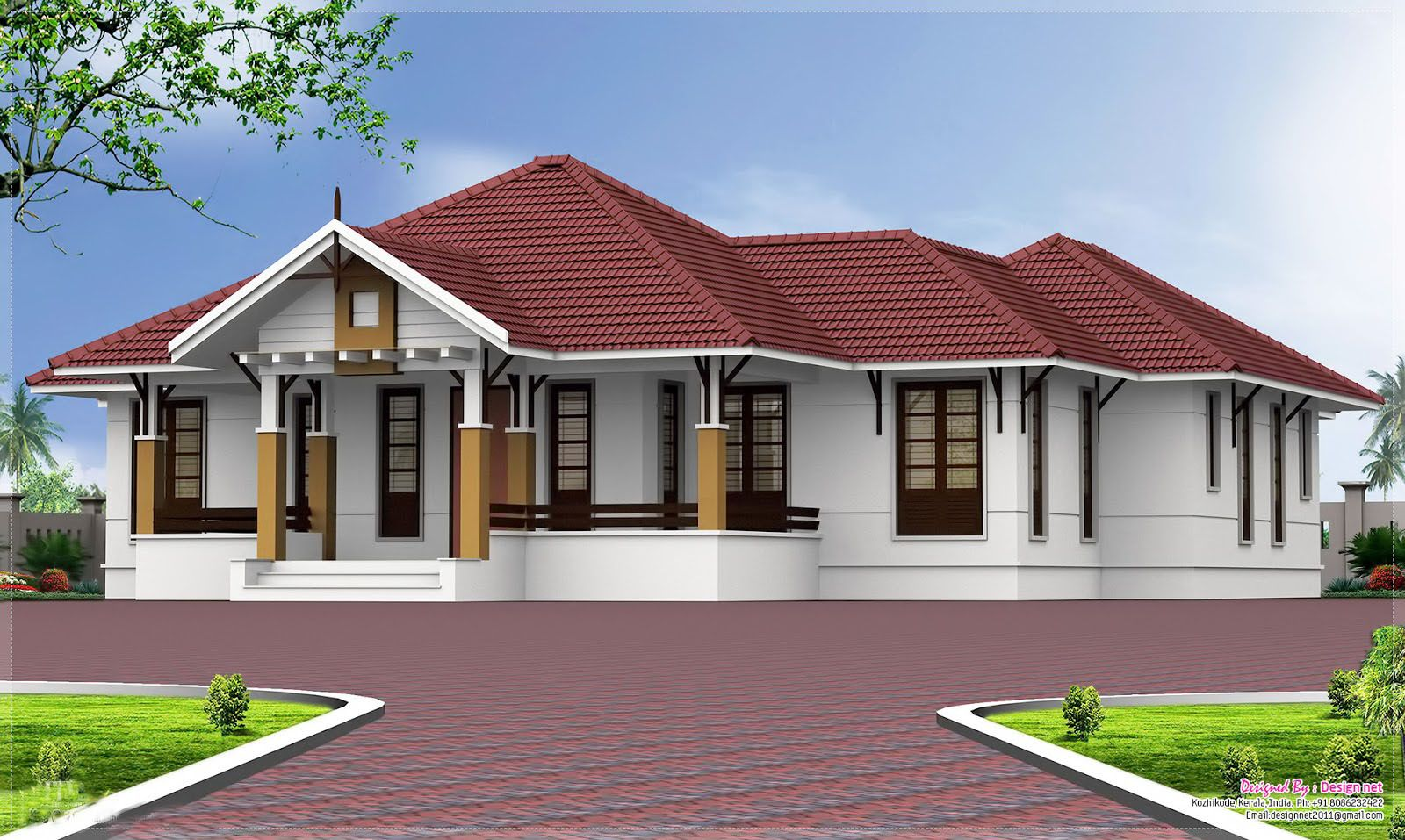 Single story homes single storey kerala home design at for One level farmhouse plans
