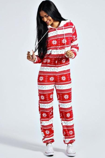 Erika Christmas Pom Pom Hooded Onesie Christmas Onesie Womens Womens Christmas Pajamas Christmas Onesie