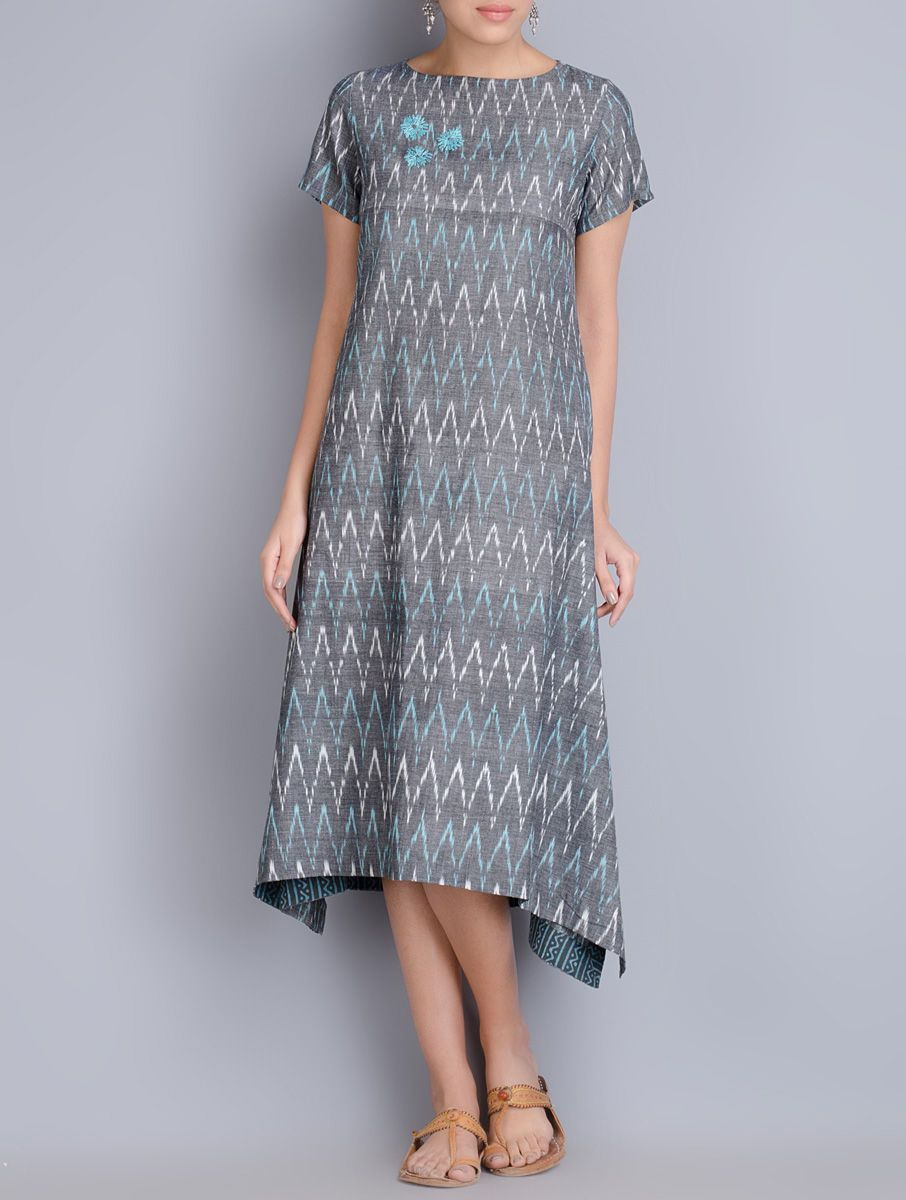ca8bb70fc1d4 Buy Grey Embroidered Ikat Cotton Dress Online at Jaypore.com
