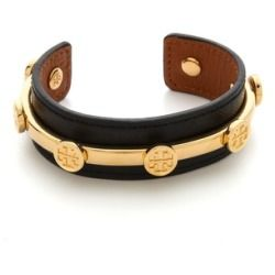 Tory Burch Leather Logo Cuff Bracelet - Black/Shiny Brass - product - Product Review