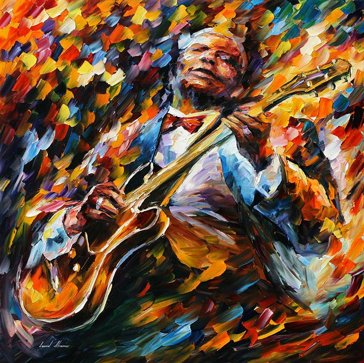 PLAYING GUITAR - JIMI HENDRIX — PALETTE KNIFE Oil Painting