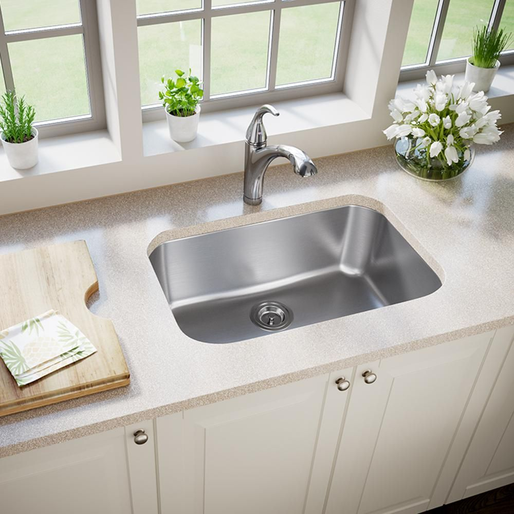 Mr Direct Undermount Stainless Steel 27 In Single Bowl Kitchen Sink 2718 The Home Depot Single Bowl Kitchen Sink Stainless Steel Sinks Undermount Kitchen Sinks