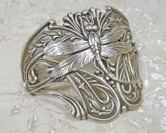 art nouveau jewelry dragonfly half cuff bracelet statement jewelry in silver ox dark silver or antiqued brass is part of Dragonfly jewelry - Art Nouveau Jewelry Dragonfly Half Cuff Bracelet Statement Jewelry in Silver OX, Dark Silver, or Antiqued Brass artNouveau Jewelry
