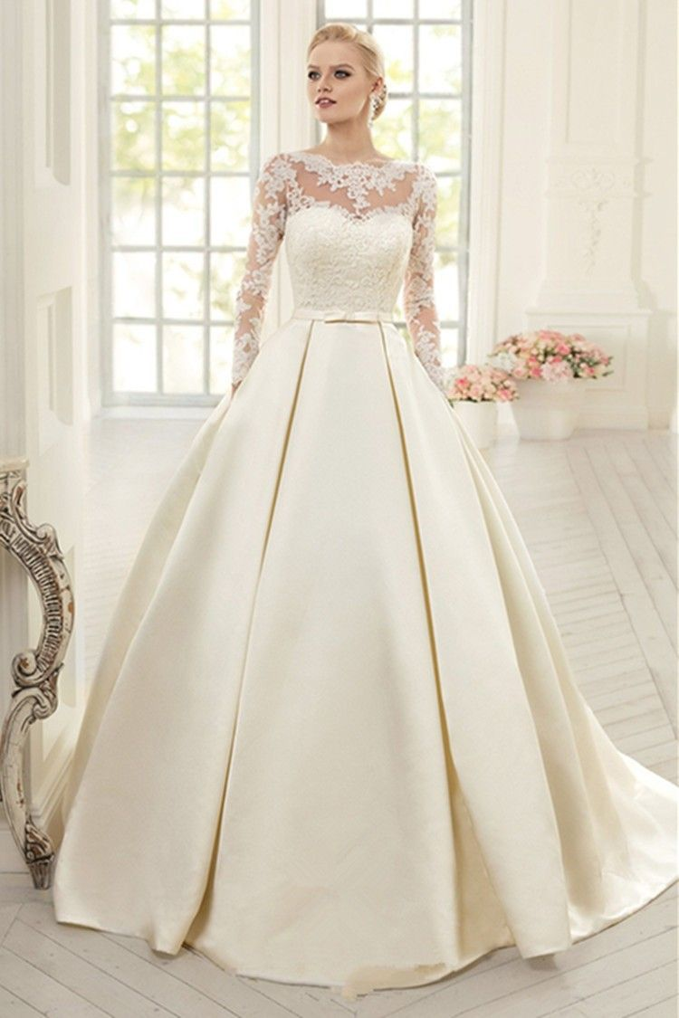 Elegant Ivory Lace Wedding Dresses Long Sleeves Soft Satin Wedding ...