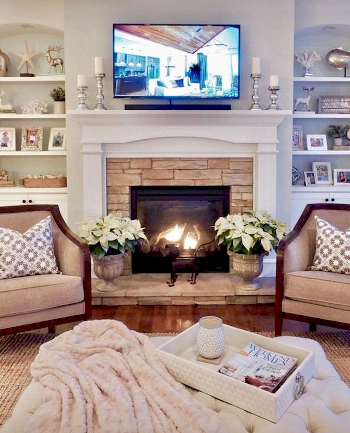 40 Best Modern Farmhouse Fireplace Mantel Decor Ideas Living