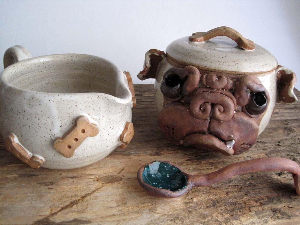 San Diego Bulldog Rescue Handmade Pottery English Bulldog Sugar
