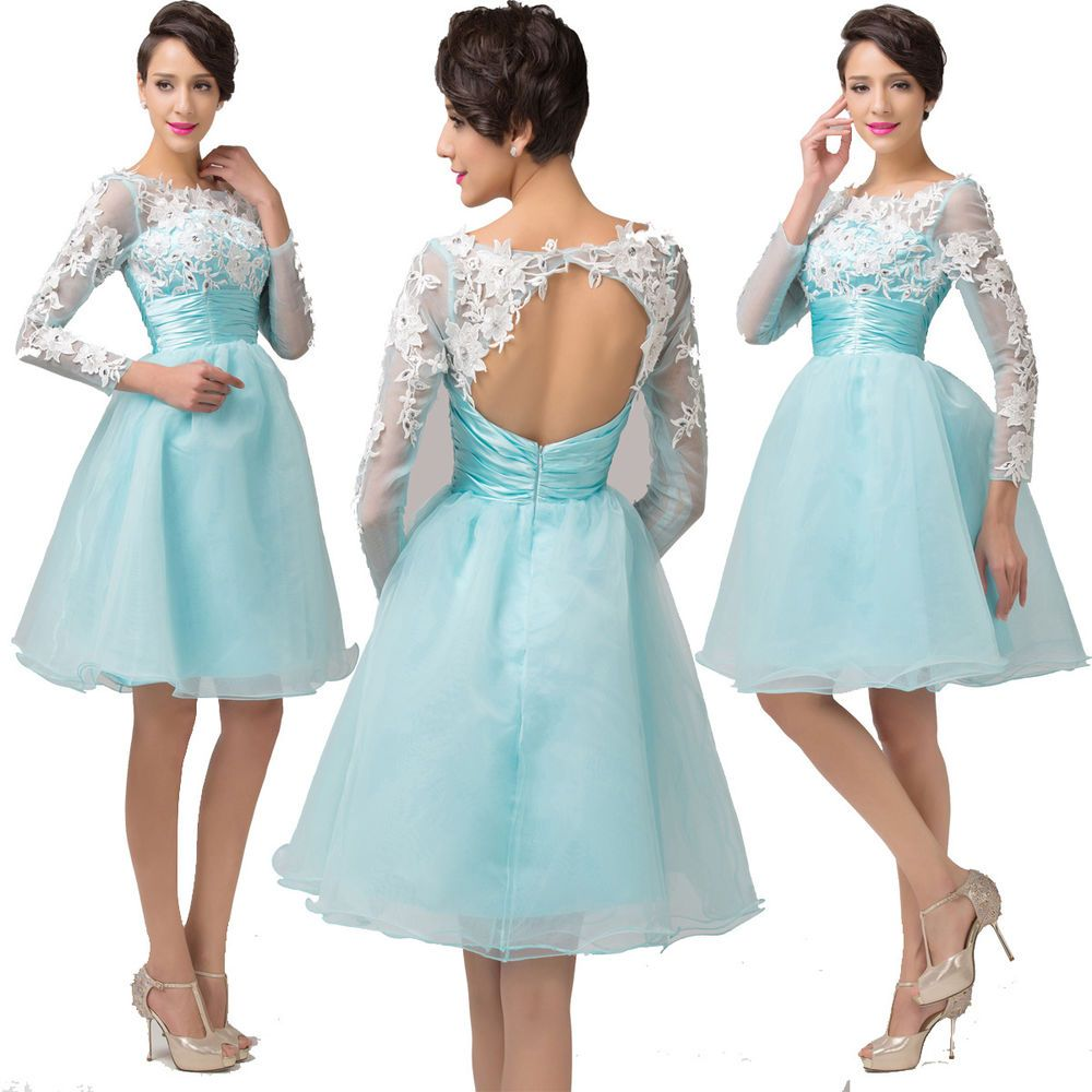 WINTER Long Sleeve Backless Organza Ball Evening Homecoming Prom ...