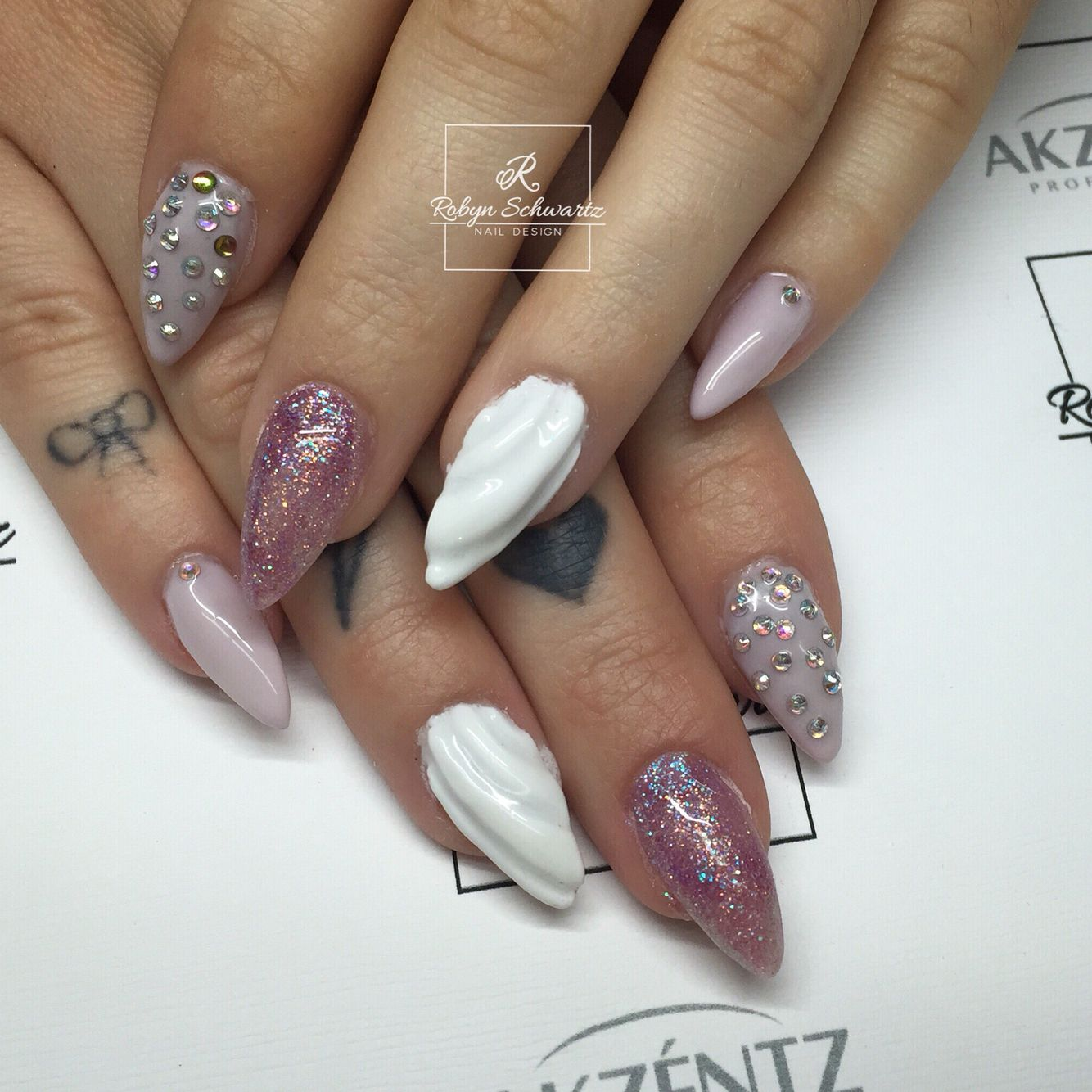 Soft pastel purple gel nails, almond nails, bling nails ...