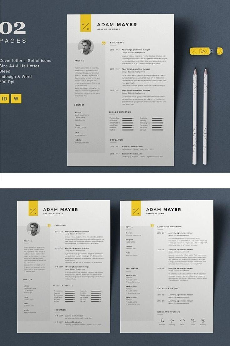1 page resume, professional CV template, resume template, MS WORD Document.