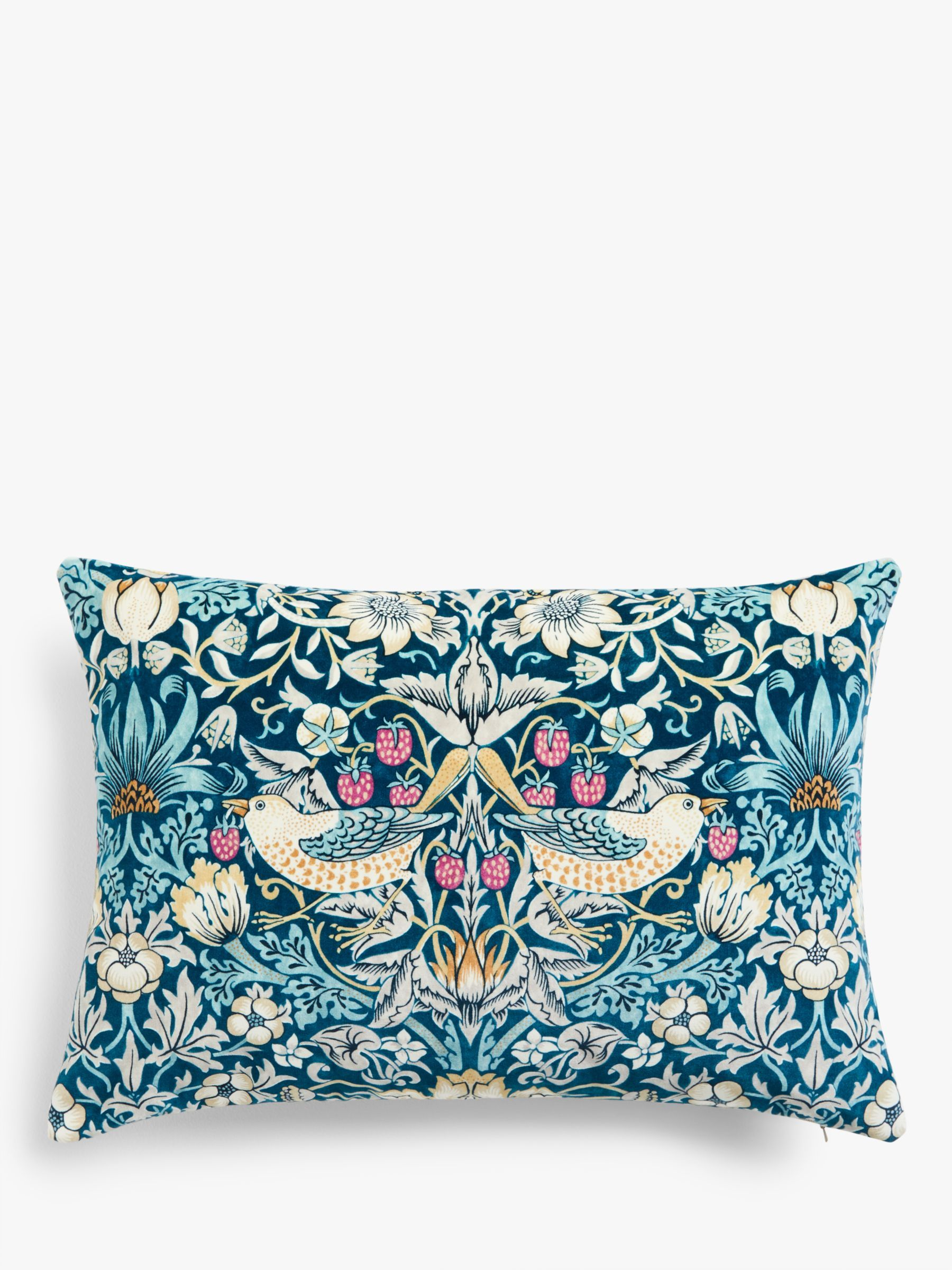 Morris & Co. Strawberry Thief Velvet Cushion, Teal