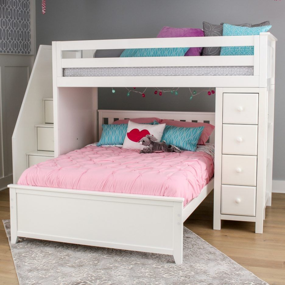 Queen size loft bed with stairs  Image result for queen over single bunk bed  izzyus room in