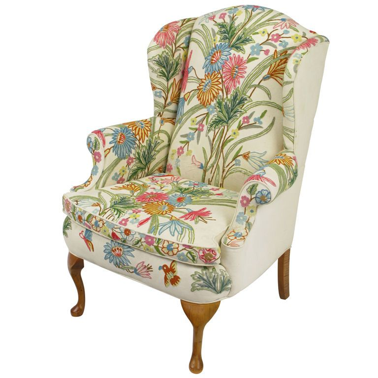 Best Love This Colorful Floral Wool Crewel Upholstered Wing 400 x 300