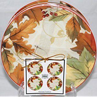 222 Fifth Harvest Festival Dessert Appetizer Plates Set Of 4 6 1 4 By 222 Fifth Appetizer Plates Set Harvest Festival Appetizer Plates