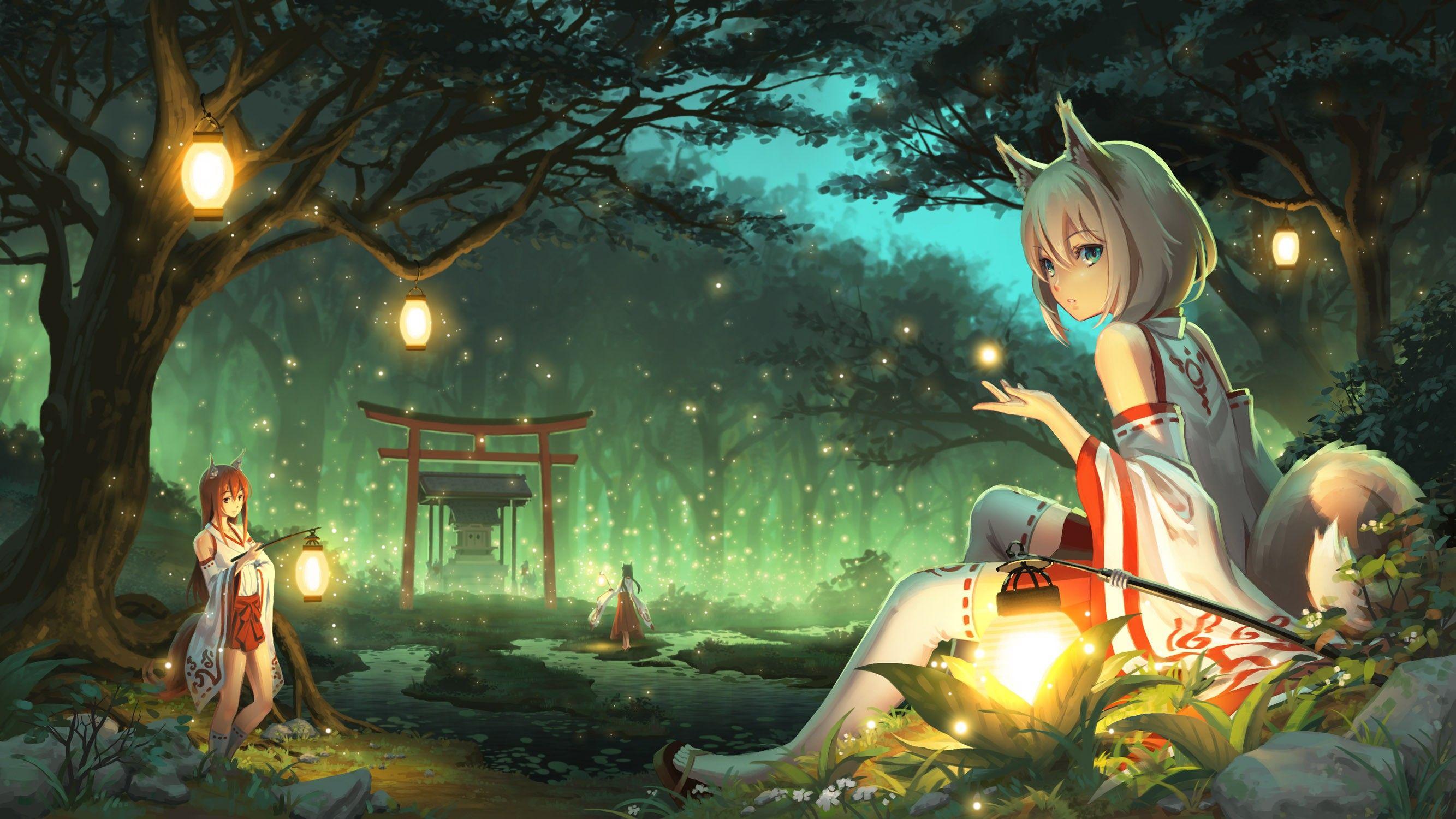 Anime Wallpaper 2667x1500 anime girls animal ears