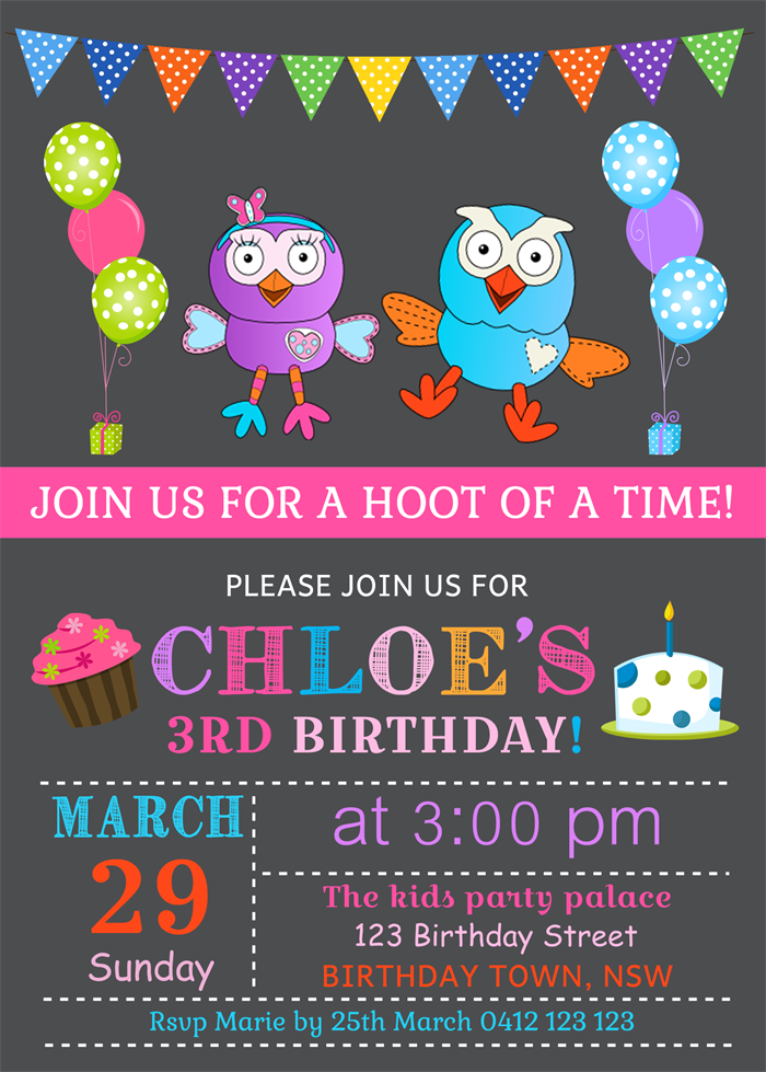 Personalised kids giggle and hoot birthday party invitations invites ...