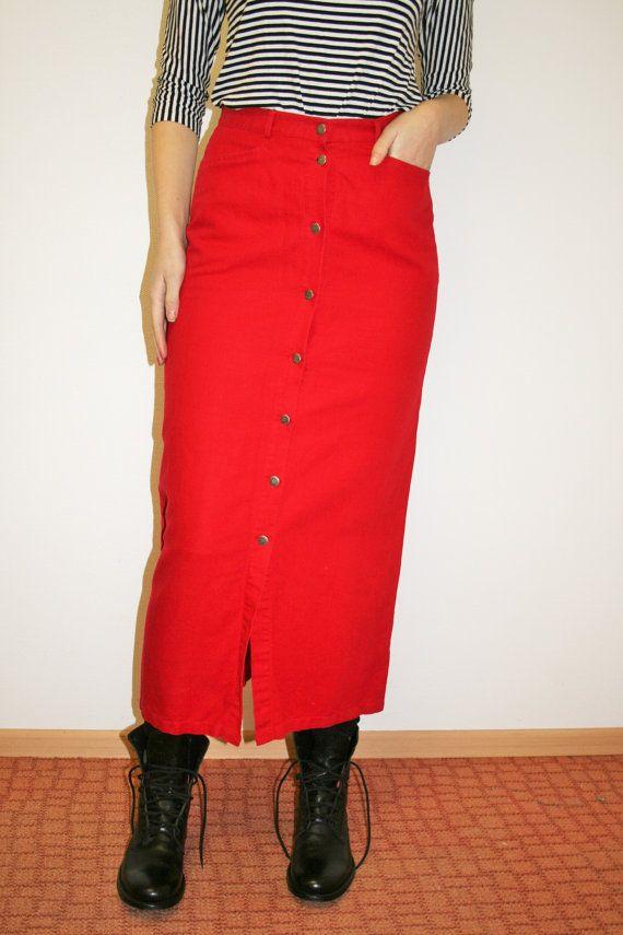 722d21568 Long Red Linen button down skirt High waist skirt Long Red skirts Button  front skirt Long red pencil Hippie Boho Festival Medium Size Materials: