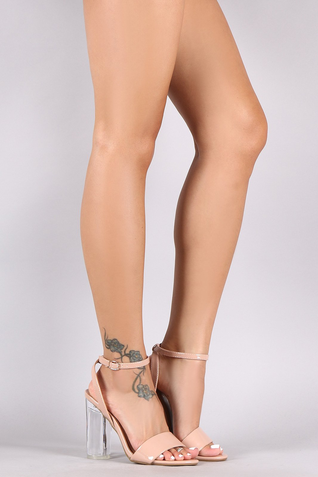 0f34e580b902 Bamboo Ankle Strap Patent Clear Cylindrical-Heel  AnklestrapsHeels   Stilettoheels