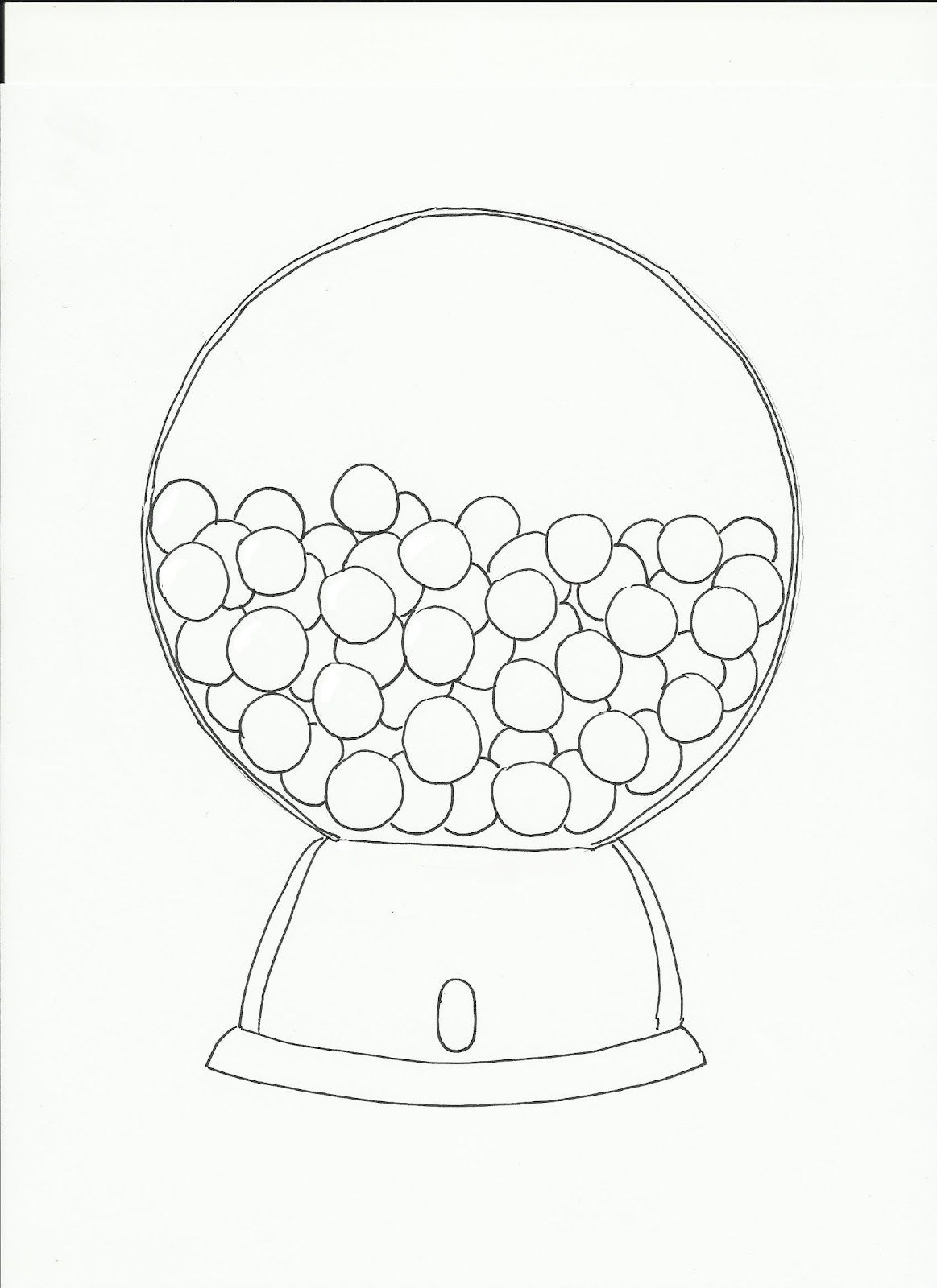 Gumball Machine Template Sketch Coloring Page