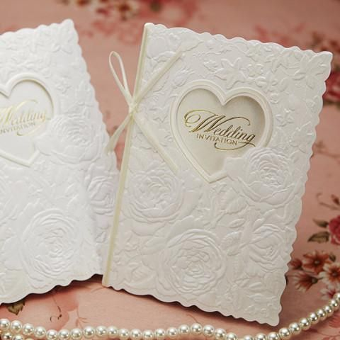 Gold Ribbon Embossed Floral Heart Wedding Invitations - BH 5003