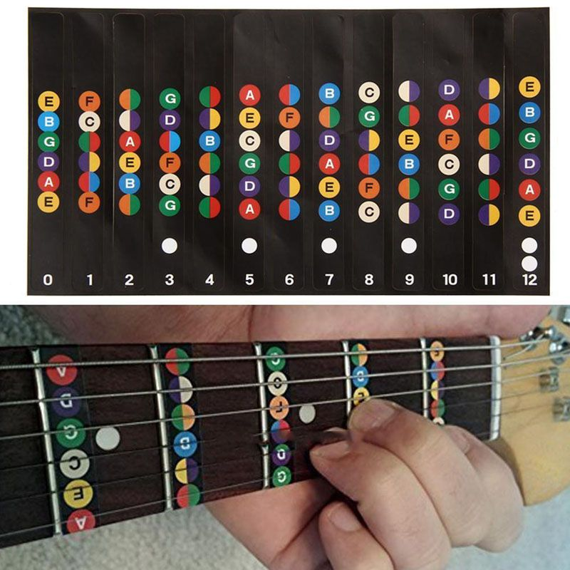 Professional Guitar Scales Sticker Fretboard Note Strips Decal