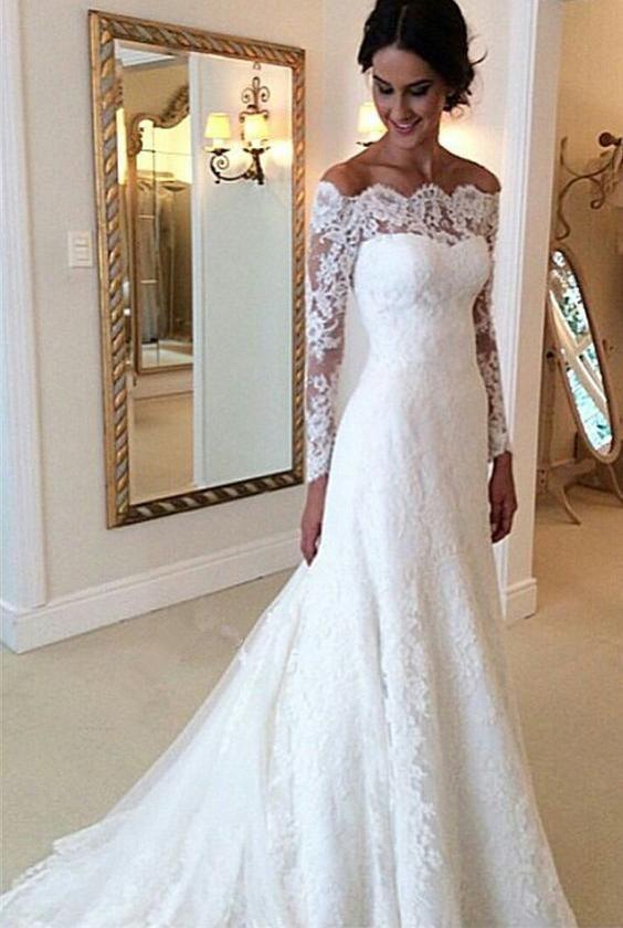2020 Elegant A Line Off The Shoulder Long Sleeves Wedding Dresses 2020WEDD-6398