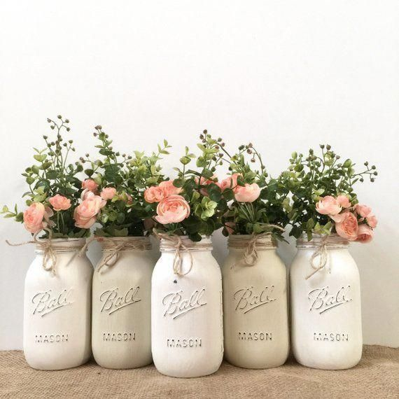 Mason Jar Centerpieces Baby Shower Mason Jar Centerpieces with Flowers, Mason Jar Centerpieces Pink
