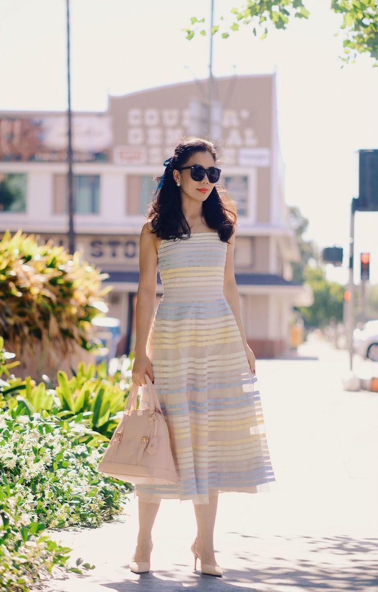 Pastel Street: Pastel Striped Dress & Suede Pumps