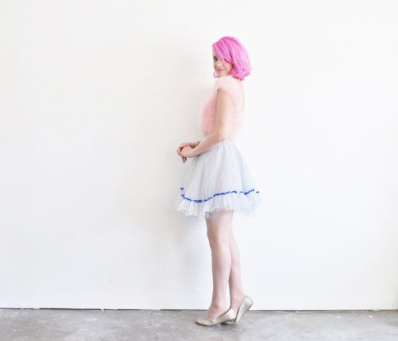 sheer blue tutu skirt . tulle chiffon and SEQUINS .extra by DOTTO
