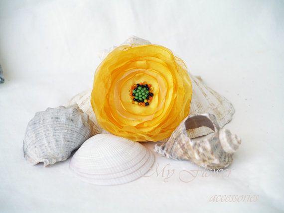 Yellow flower poppy flower brooch floral hair piece flower pin yellow flower clip poppy flower brooch floral hair piece mightylinksfo