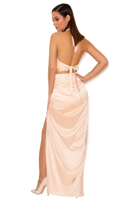 4f94470e263 Clothing   Max Dresses    Cesare  Blush Satin Halter Wrap Maxi Dress ...