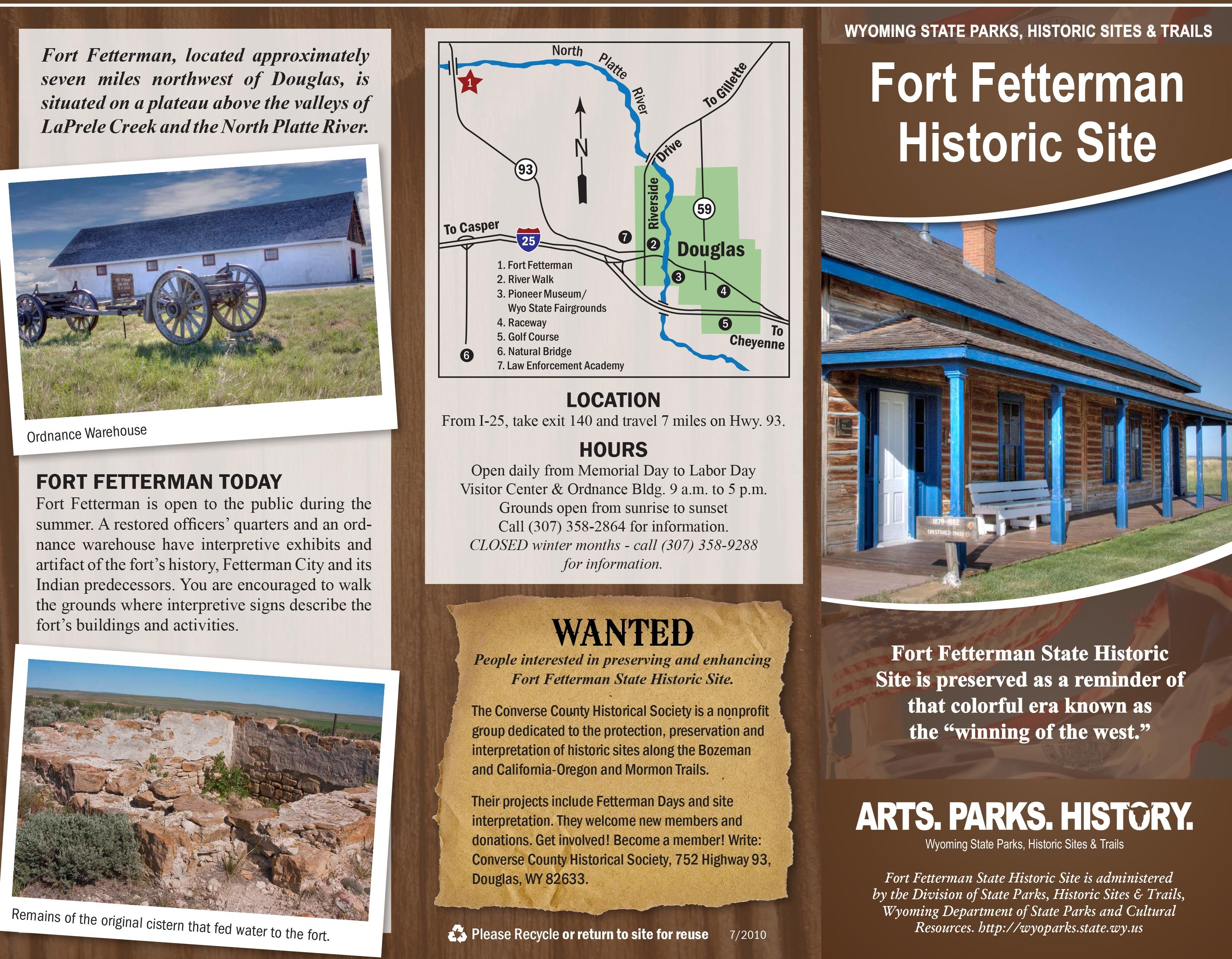 Fort Fetterman State Historic Site Brochure North Platte Historical Sites Wyoming State