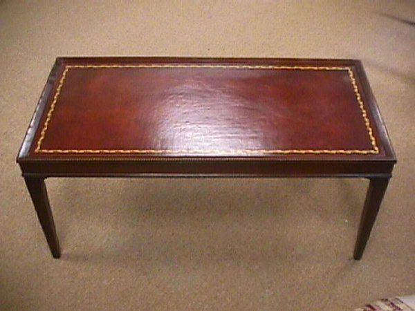 Antique Coffee Tables W/leather Inlay | 83: 1950u0027S VINTAGE LEATHER TOP  COFFEE TABLE : Lot 83