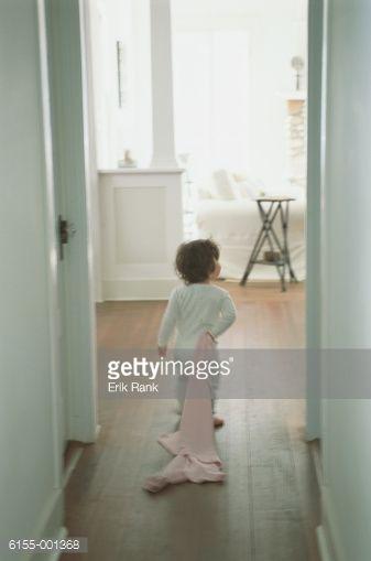 Stock-Foto : Child Dragging Blanket