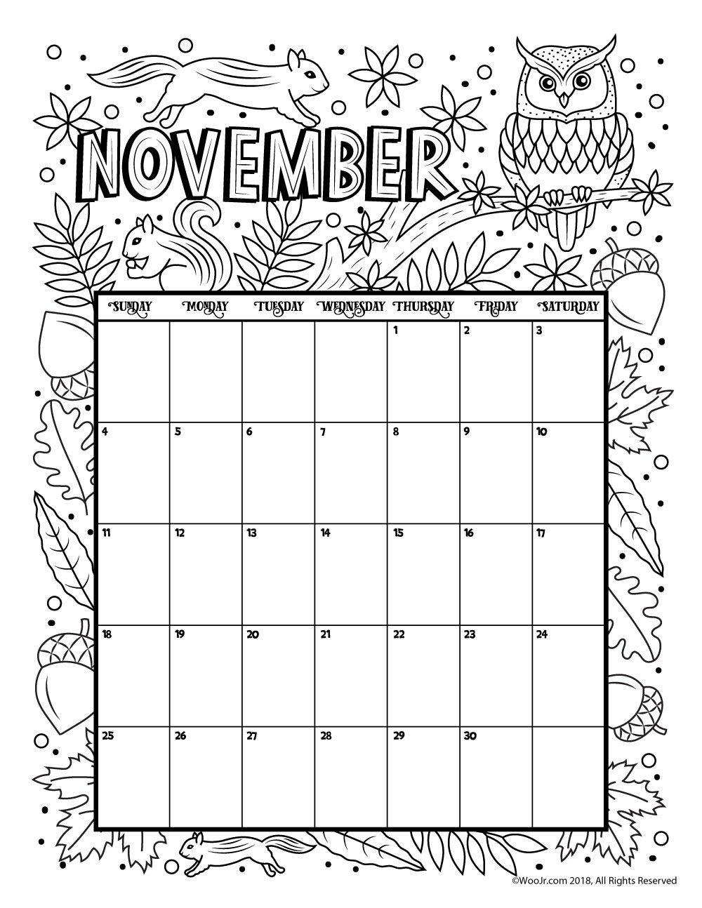 November 2018 Calendar Page Word Excel Template
