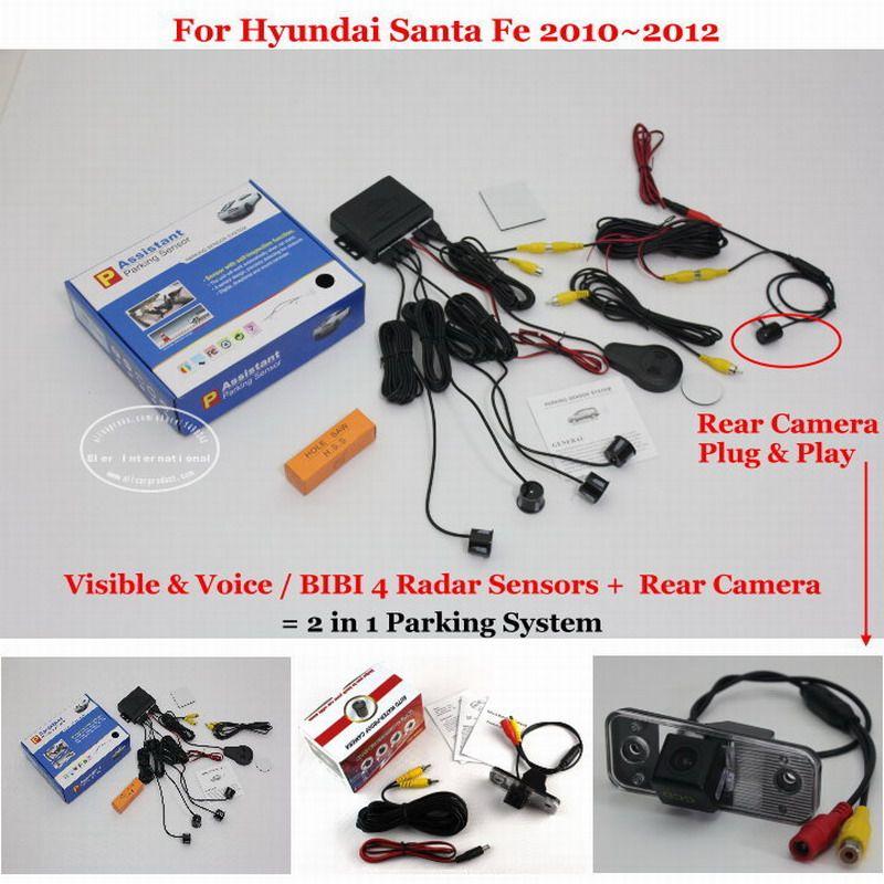 For Hyundai Santa Fe 2010 2012 Car Parking Sensors Rear View Camera 2 In 1 Visual Bibi Alar Car Electronics Volkswagen Touran Toyota Land Cruiser Prado