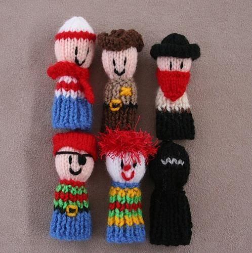 6 Finger Friends finger puppets - Dress ups 1 pirate clown cowboy ...