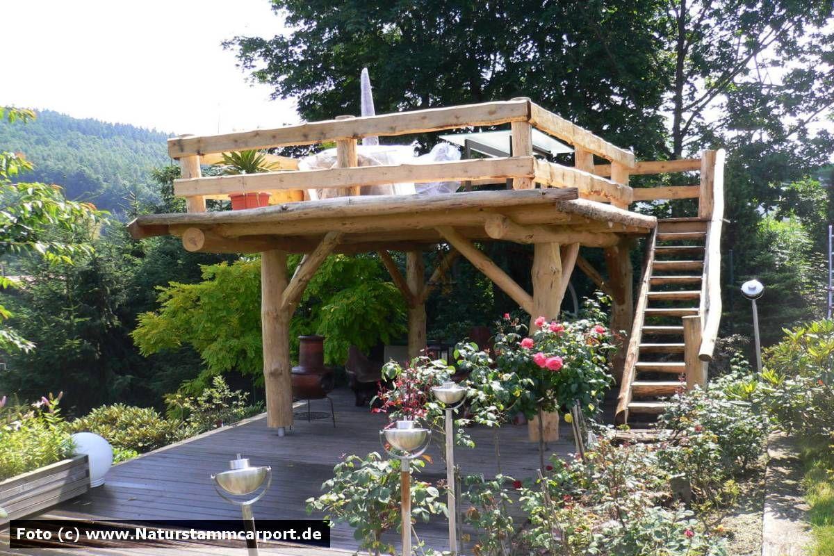 Naturholz Terrassen U0026 Gartenüberdachungen Naturstamm Carport