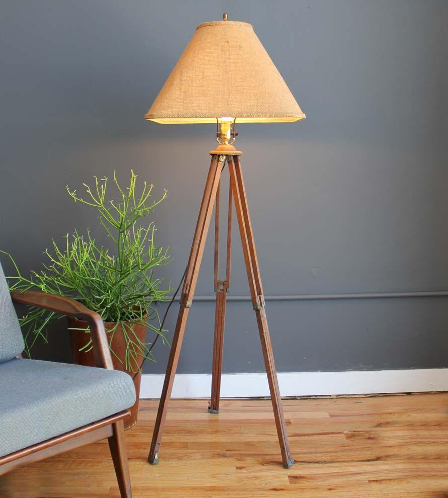 Industrial Surveyor Tripod Floor Lamp Amp Shade 230 00 Via Etsy Floor Lamp Shades Floor